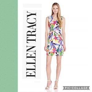 NWT Ellen Tracy size 8 tropical floral belted